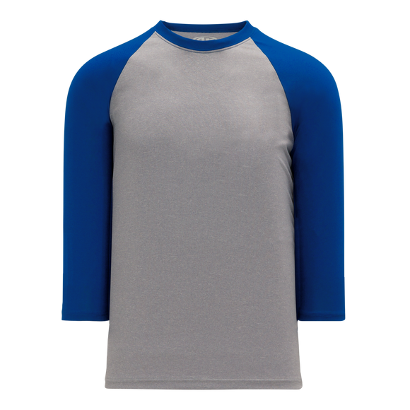 Athletic Knit (AK) BA1846-922 Heather Grey/Royal Blue Pullover Baseball Jersey