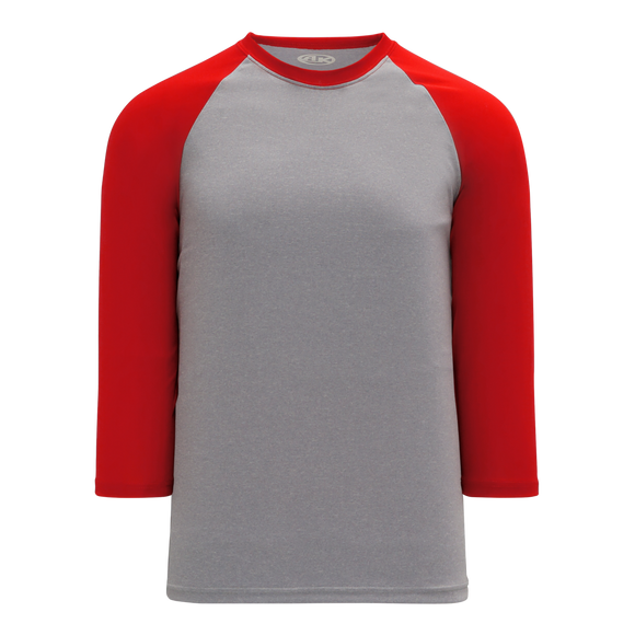 Athletic Knit (AK) BA1846-923 Heather Grey/Red Pullover Baseball Jersey