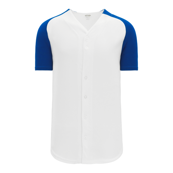 Athletic Knit (AK) BA1875-207 White/Royal Blue Full Button Baseball Jersey