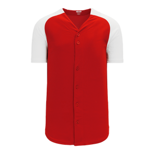 Athletic Knit (AK) BA1875A-208 Adult Red/White Full Button Baseball Jersey