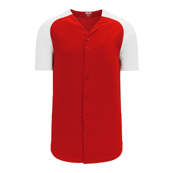 Athletic Knit (AK) BA1875-208 Red/White Full Button Baseball Jersey