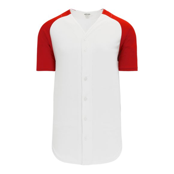 Athletic Knit (AK) BA1875-209 White/Red Full Button Baseball Jersey