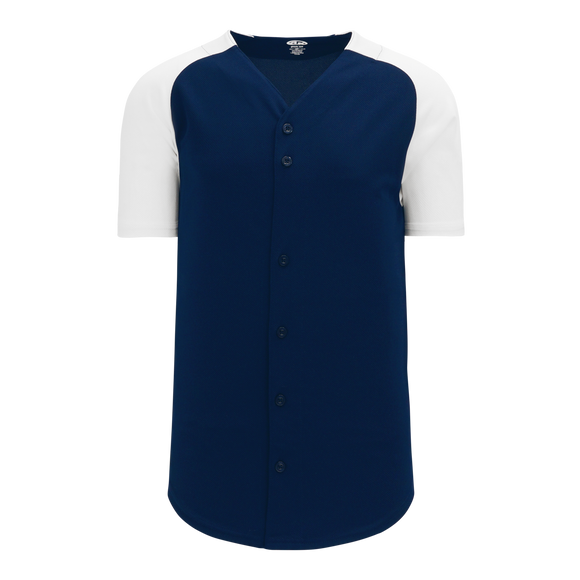 Athletic Knit (AK) BA1875-216 Navy/White Full Button Baseball Jersey