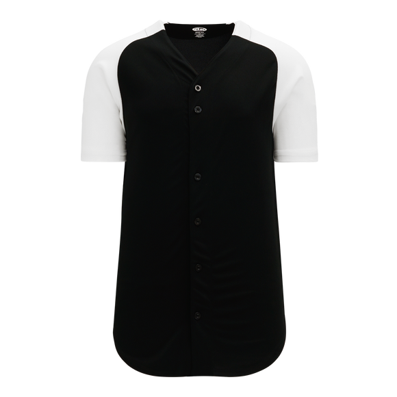 Athletic Knit (AK) BA1875A-221 Adult Black/White Full Button Baseball Jersey
