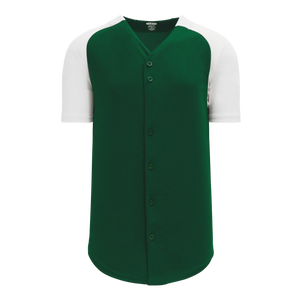 Athletic Knit (AK) BA1875 Dark Green/White Full Button Baseball Jersey