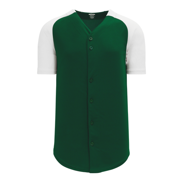 Athletic Knit (AK) BA1875-260 Dark Green/White Full Button Baseball Jersey