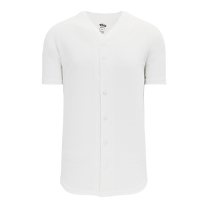 Athletic Knit (AK) BA5200-000 White Full Button Baseball Jersey