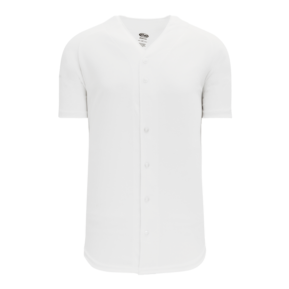 Athletic Knit (AK) BA5200 White Full Button Baseball Jersey