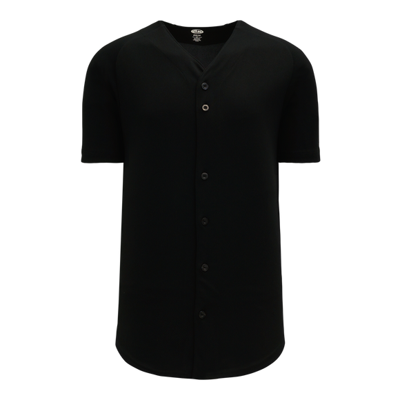 Athletic Knit (AK) BA5200 Black Full Button Baseball Jersey