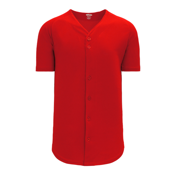 Athletic Knit (AK) BA5200-005 Red Full Button Baseball Jersey