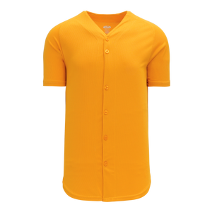 Athletic Knit (AK) BA5200M-006 Mens Gold Full Button Baseball Jersey