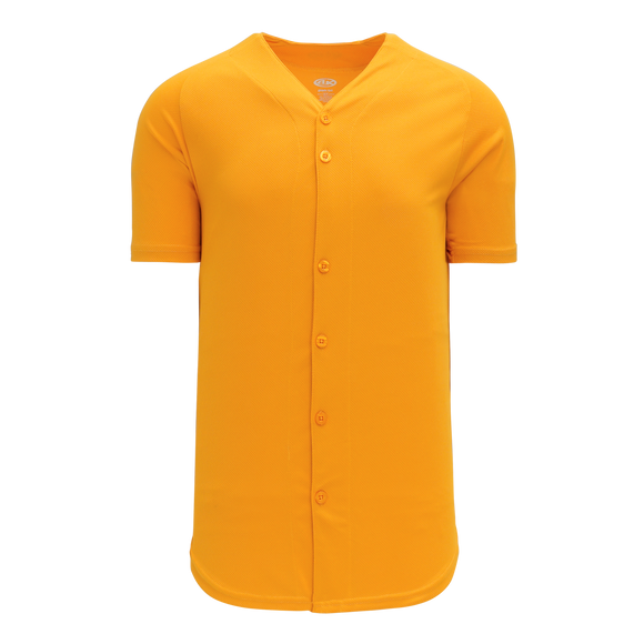 Athletic Knit (AK) BA5200-006 Gold Full Button Baseball Jersey