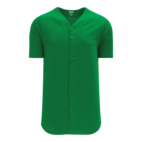 Athletic Knit (AK) BA5200 Kelly Green Full Button Baseball Jersey