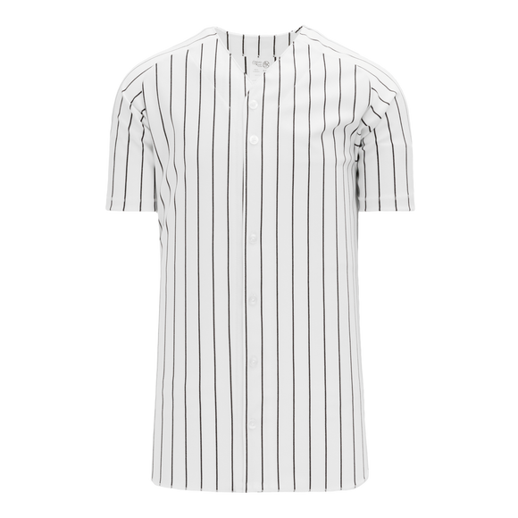 Athletic Knit (AK) BA524 White/Black Pinstripe Full Button Baseball Jersey