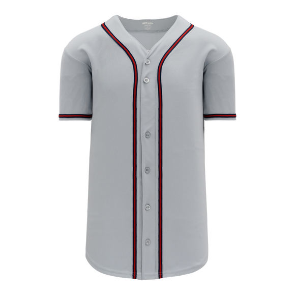 Athletic Knit (AK) BA5500-ATL599 Atlanta Grey Full Button Baseball Jersey