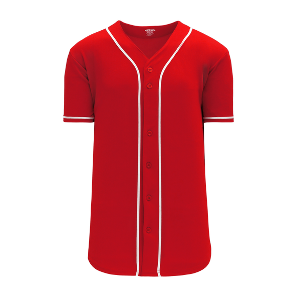 Athletic Knit (AK) BA5500-CIN698 Cincinnati Red Full Button Baseball Jersey