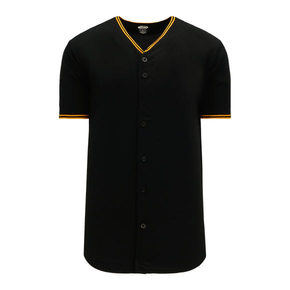 Athletic Knit (AK) BA5500-PIT578 Pittsburgh Black Full Button Baseball Jersey