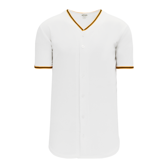 Athletic Knit (AK) BA5500-PIT579 Pittsburgh White Full Button Baseball Jersey