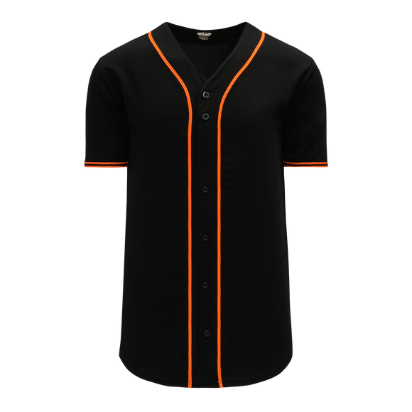 Athletic Knit (AK) BA5500-SF577 San Francisco Black Full Button Baseball Jersey