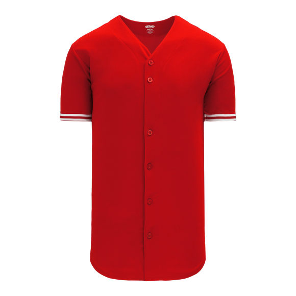 Athletic Knit (AK) BA5500-TOR571 Toronto Red Full Button Baseball Jersey