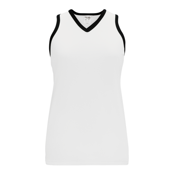 Athletic Knit (AK) V583L-222 White/Black Ladies Volleyball Jersey