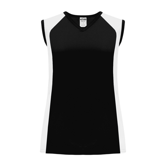Athletic Knit (AK) V601L-221 Ladies Black/White Volleyball Jersey
