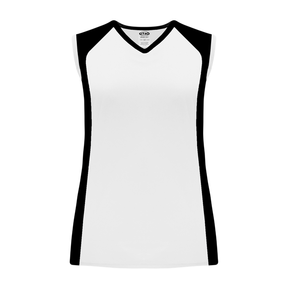 Athletic Knit (AK) V601L-222 Ladies White/Black Volleyball Jersey