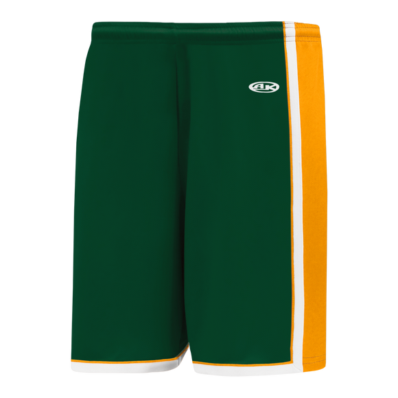 Athletic Knit (AK) BS1735 Dark Green/Gold/White Pro Basketball Shorts