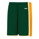 Athletic Knit (AK) BS1735-439 Dark Green/Gold/White Pro Basketball Shorts