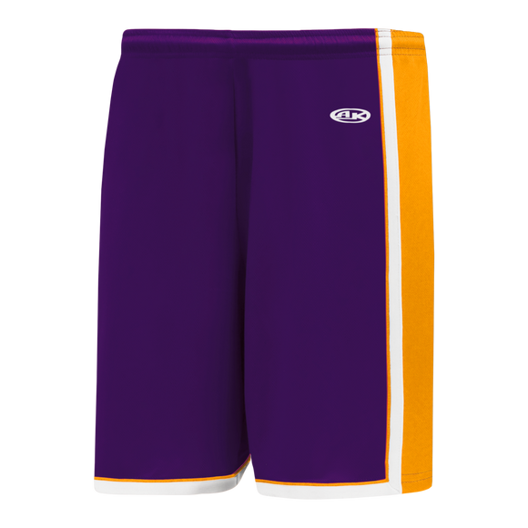 Athletic Knit (AK) BS1735-441 Purple/Gold/White Pro Basketball Shorts