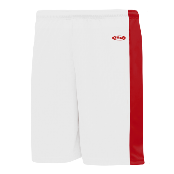 Athletic Knit (AK) BS9145-209 White/Red Pro Basketball Shorts