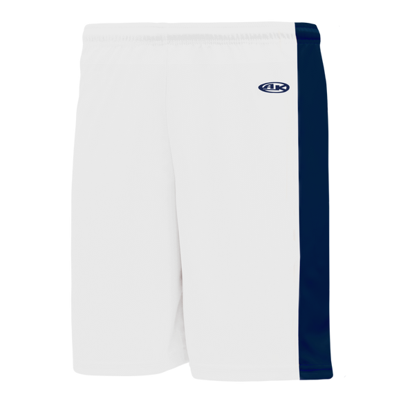 Athletic Knit (AK) BS9145-217 White/Navy Pro Basketball Shorts
