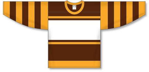 Image of Athletic Knit (AK) H550A Boston Bruins Brown Hockey Jersey - PSH Sports