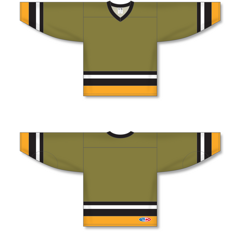 Image of Athletic Knit (AK) H550A North Bay Battalion Olive Hockey Jersey - PSH Sports