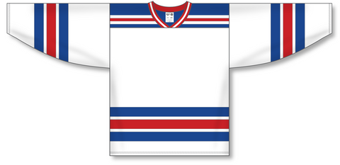 Image of Athletic Knit (AK) H550A New York Rangers White Hockey Jersey - PSH Sports