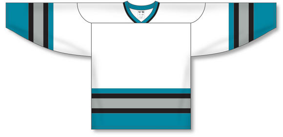 Athletic Knit (AK) H550A San Jose Sharks White Hockey Jersey - PSH Sports