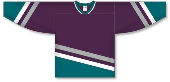 Athletic Knit (AK) H550B Anaheim Mighty Ducks Eggplant Hockey Jersey - PSH Sports