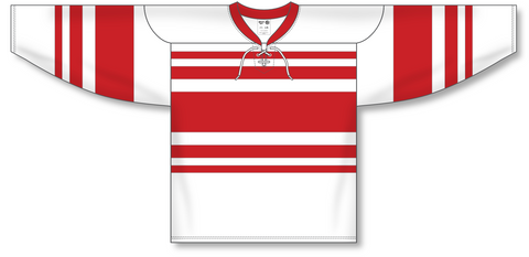 Image of Athletic Knit (AK) H550B Detroit Red Wings Retro White Hockey Jersey - PSH Sports