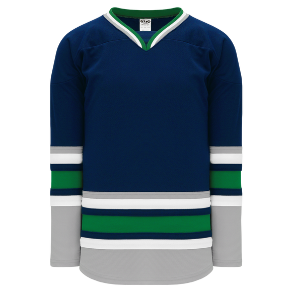 Athletic Knit (AK) H550BA-HAR957B New Adult 1992 Hartford Whalers Navy Hockey Jersey
