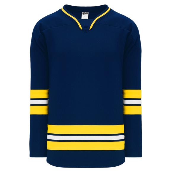 Athletic Knit (AK) H550B-MIC787B New 2011 University of Michigan Wolverines Navy Hockey Jersey
