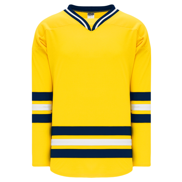 Athletic Knit (AK) H550B-MIC788B New 2011 University of Michigan Wolverines Maize Hockey Jersey