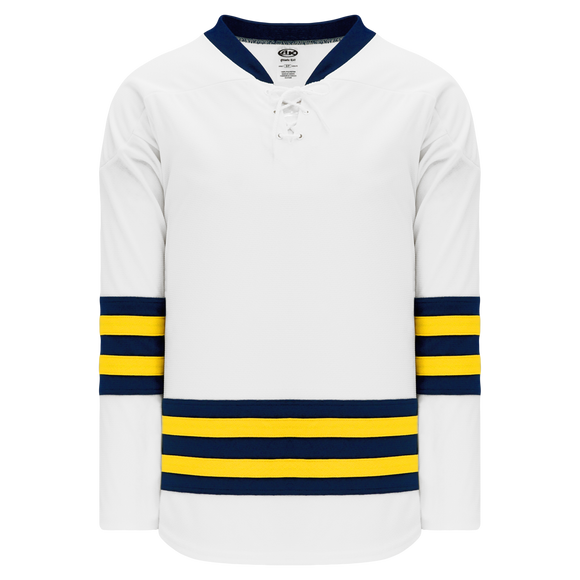 Athletic Knit (AK) H550B-MIC789B 2011 New University of Michigan Wolverines White Hockey Jersey