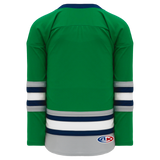 Athletic Knit (AK) H550BA-PLY843B New Adult Plymouth Whalers Kelly Green Hockey Jersey