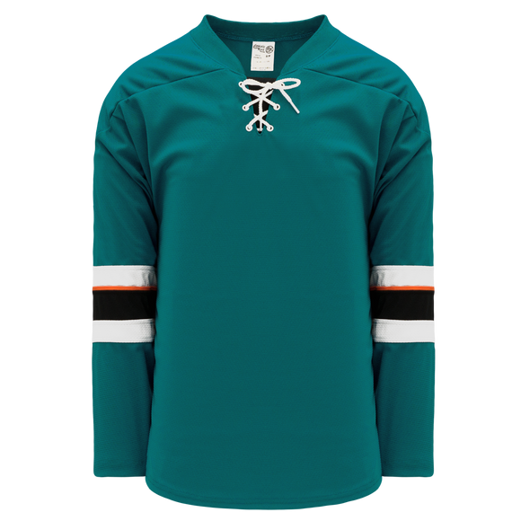 Athletic Knit (AK) H550B-SAN466B 2013 San Jose Sharks Pacific Teal Hockey Jersey