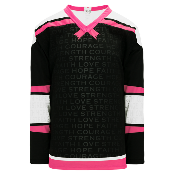 Athletic Knit (AK) H550C-BCA773C Sublimated Breast Cancer Awareness Black Hockey Jersey