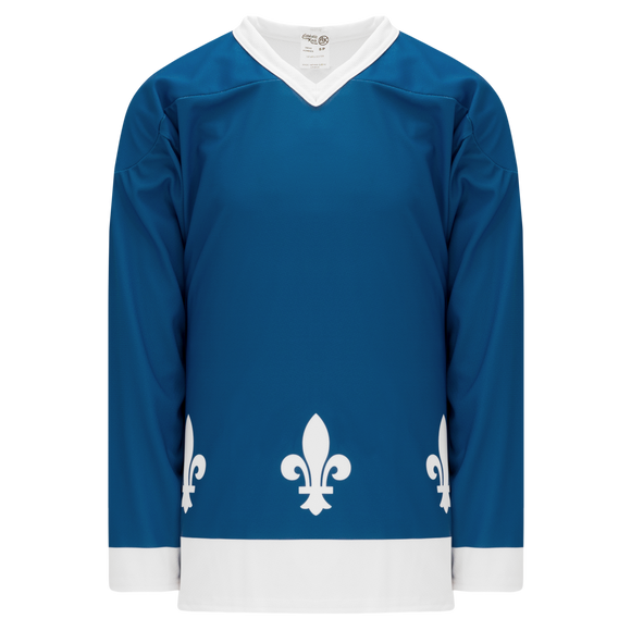 Athletic Knit (AK) H550CY-QUE852C Youth Sublimated Quebec Nordiques Blue Hockey Jersey