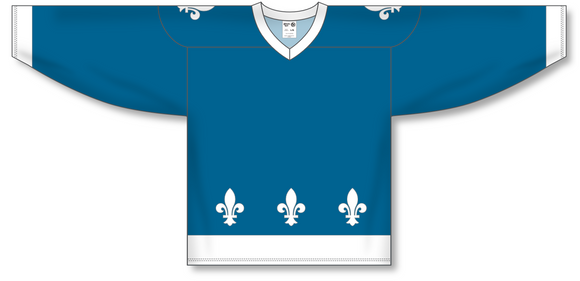 Athletic Knit (AK) H550C Sublimated Quebec Nordiques Blue Hockey Jersey - PSH Sports