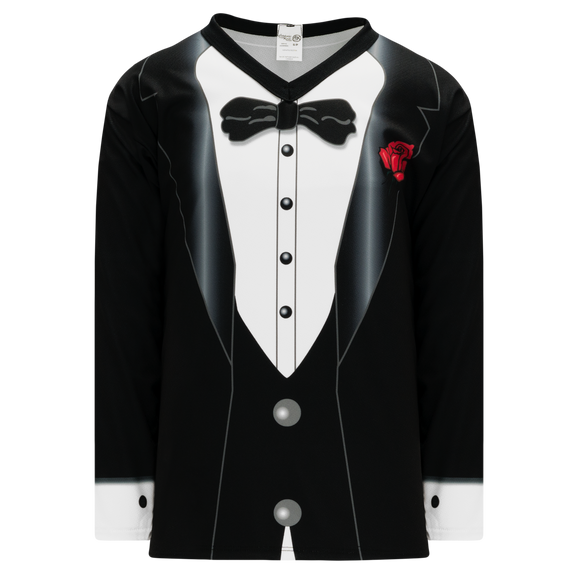 Athletic Knit (AK) H550C-TUX795C Sublimated Black Tuxedo Hockey Jersey