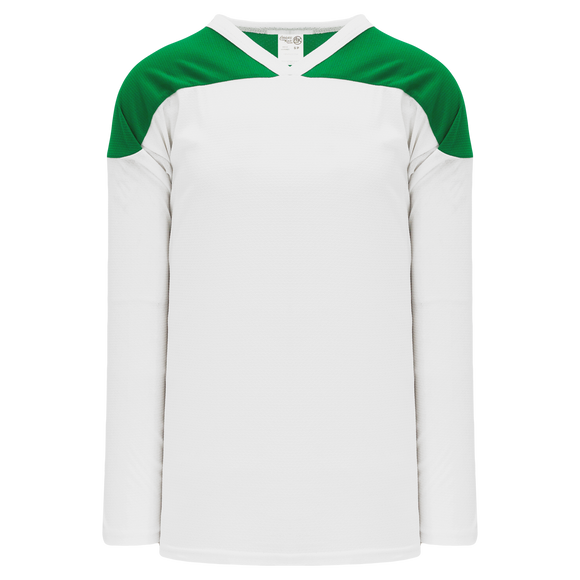 Athletic Knit (AK) H6100Y-211 Youth White/Kelly Green League Hockey Jersey