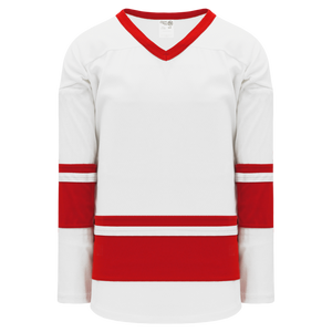Athletic Knit (AK) H6400A-209 Adult White/Red League Hockey Jersey